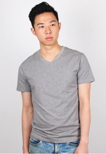 Moley grey Plain V-Neck T-Shirt MO329AA66JWNSG_1