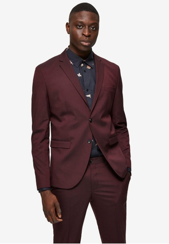 Selected Homme red Slim Mylologan Burgundy Blazer 37392AA831EFC8GS_1