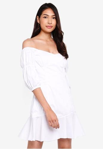 Glamorous 白色 露肩 Wrap Front短洋裝 8FC26AA5DDD1E3GS_1