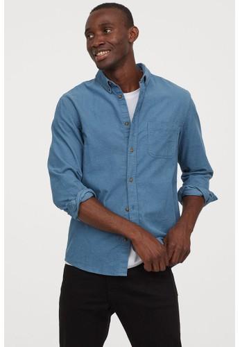 H&M blue Corduroy shirt Regular Fit E4AA6AA6F83CC6GS_1