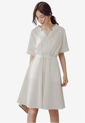 YOCO white Short Sleeve Tie Front Dress 7850CAA0535790GS_1