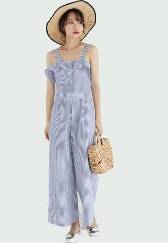 Shopsfashion white and blue Ruffles Jumpsuit SH656AA0FVGISG_1