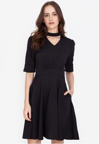 ZALORA WORK black Mock Neck Dress A5AC3AAD9ECD75GS_1