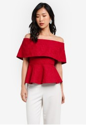 ZALORA red Lace Off Shoulder Peplum Top 530A4AAA6EEDB2GS_1