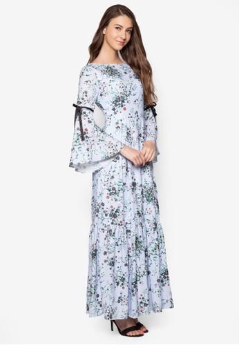 繫帶喇esprit分店叭袖印花連身長裙, 服飾, 洋裝