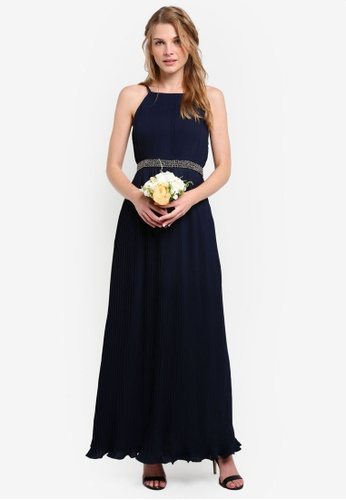 ZALORA navy Bridesmaid Pleated Maxi Dress with Embellished Waistband 0E6C5AA1DA1C5DGS_1