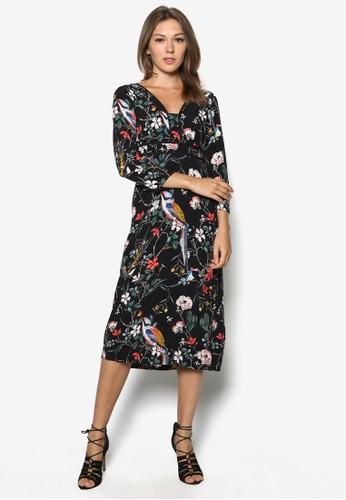 花與鳥及膝長袖adl esprit連身裙, 服飾, 及膝洋裝