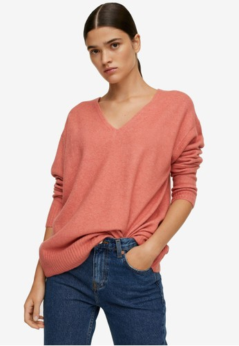 Mango pink V-Neck Knit Sweater 16567AA64D9AFAGS_1