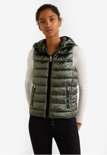 Mango green Hooded Quilted Gilet 3F53BAA6ABB099GS_1