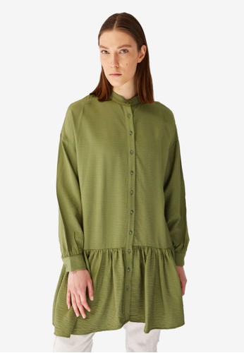 Trendyol green Mandarin Tunic Shirt 63C32AA41731EAGS_1