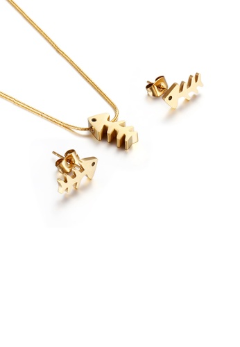 Glamorousky silver Simple and Fashion Plated Gold Fish Bone 316L Stainless Steel Necklace and Stud Earring Set 75AFAACD92A9E5GS_1