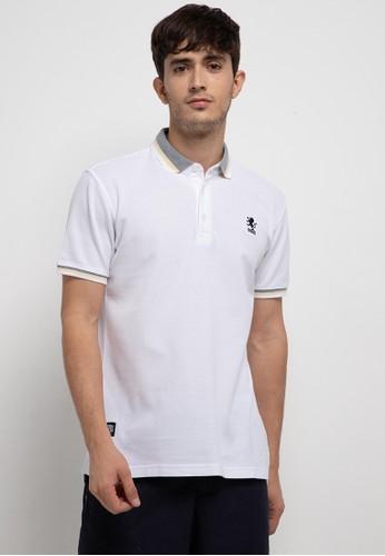 SHARKS white Casual Polo Shirt 51260AA363754AGS_1