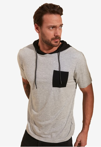Trendyol grey Hooded T-Shirt 850D3AA64D7C0FGS_1
