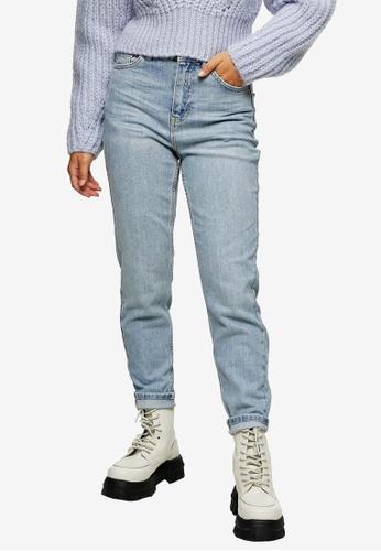 TOPSHOP blue PETITE Bleach Premium Mom Tapered Jeans 42F8EAA508C72BGS_1