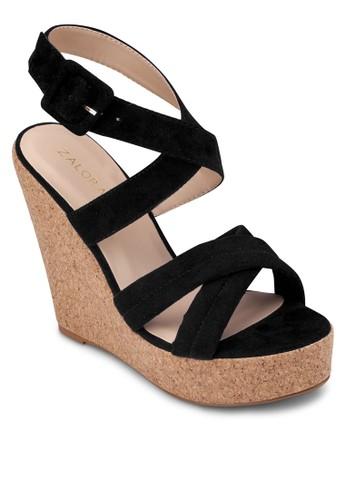 交叉帶木製楔形zalora 手錶涼鞋, 女鞋, 楔形涼鞋