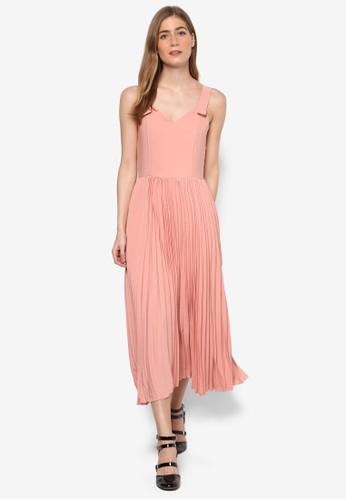 Jovie's 起褶無尖沙咀 esprit outlet袖連身長裙, 服飾, 洋裝