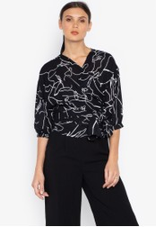 Susto The Label black Maeve Printed Wrap Blouse 39466AA0C63152GS_1