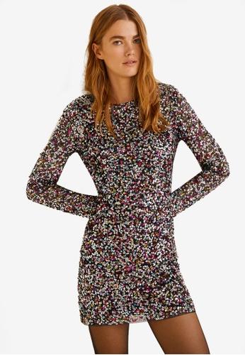 Mango black Scoop-Back Sequin Dress 058C7AADED9FF9GS_1