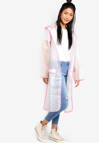 Something Borrowed white and pink Contrast Binding Rain Jacket EB634AA2814E10GS_1