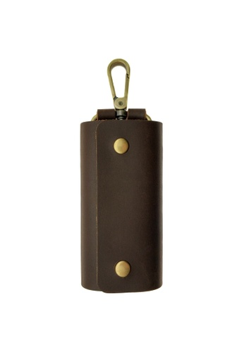 LUXORA brown The Ninja Co. Top Grain Leather Key Wallet Holder Purse Ring Stationery Office Home Gift 79256ACA77C877GS_1