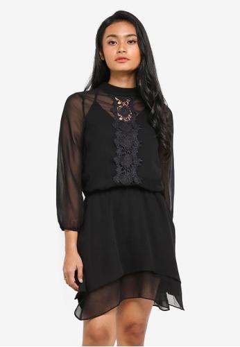 Shop Preen Proper Long Sleeve Blouson Sheer Dress Online On Zalora