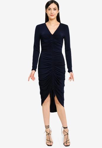 Goddiva navy Long Sleeve Ruched Midi Dress With Drawstring ABEA6AAF5EEA51GS_1