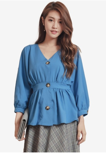 Kodz blue V-Neck Breasted Tie Waist Top C8B50AA95F5C85GS_1