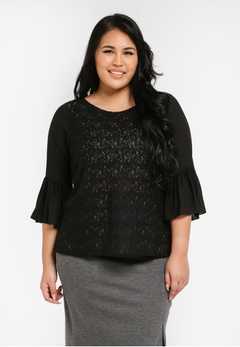 Ex'otico black Plus Size 3/4 Flare Sleeve Lace Blouse EX373AA0SL87MY_1
