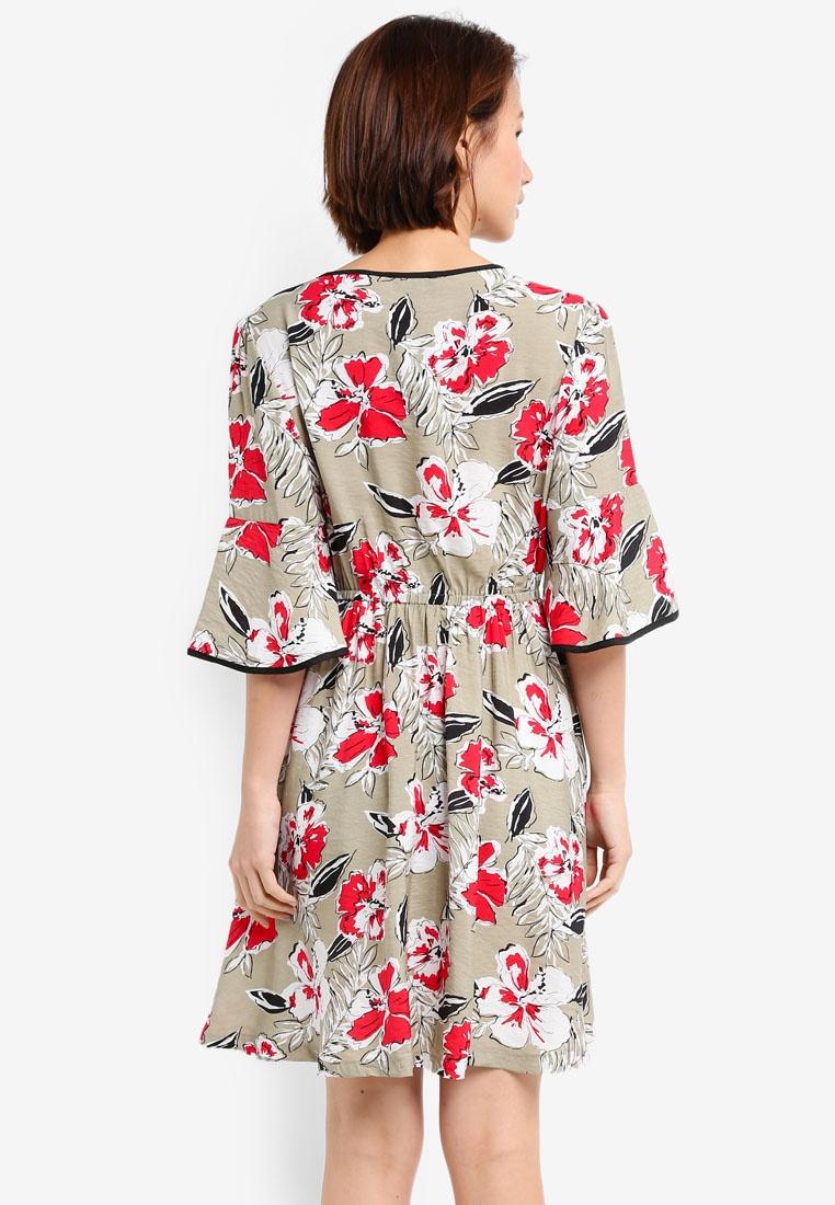 Wrap Binding Dress Detail Print With Khaki ZALORA 0gBwq0Ux