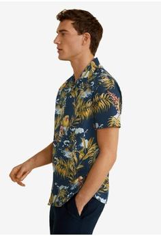 ac7f25e831 MANGO Man multi and navy Regular-Fit Hawaiian Print Shirt 31482AA2353427GS 1