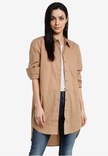 JACQUELINE DE YONG beige Ulrikka Long Sleeves Longline Blouse C6246AA56D8290GS_1