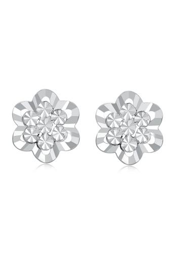 MaBelle silver 14K White Gold Faceted Flower Earrings MA584AC21IGSHK_1