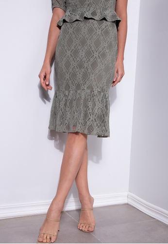 ZALORA OCCASION green Lace Gathered Hem Mermaid Skirt 972A5AA2BA1DE3GS_1