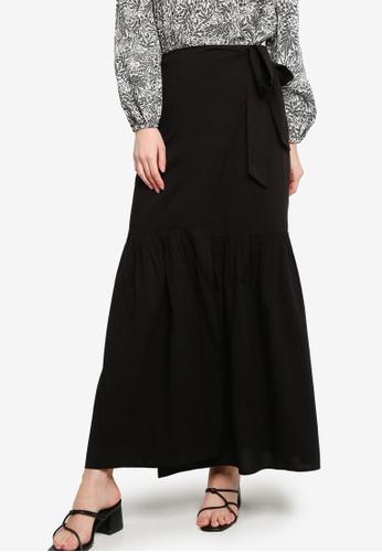 Zalia black Gathered Wrap Skirt 52D42AA6B94064GS_1