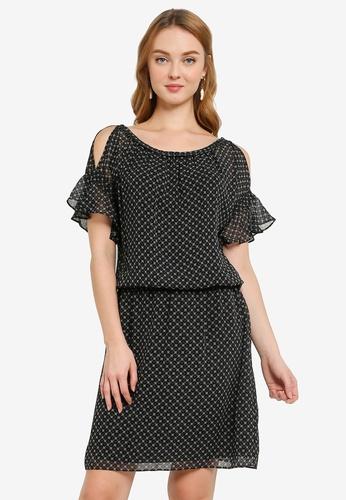 Max Studio black Woven Cold Shoulder Dress 9AE64AA99E6405GS_1