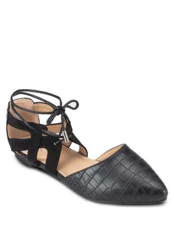 Lauesprit女裝rina 鱷魚紋尖頭踝帶平底鞋, 女鞋, 鞋