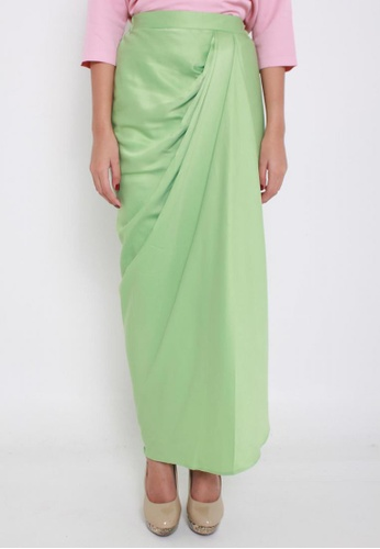 Naphthys Collection green Amelia Long Draped Skirt NA003AA57ZWSSG_1