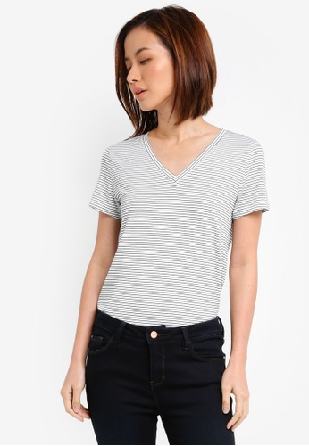 ZALORA white and multi Essential V Neck Tee D1027AA43A277AGS_1