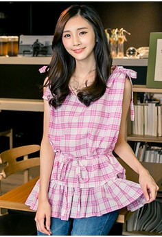 [IMPORTED] Frou Sweetheart Plaid Top - Pink
