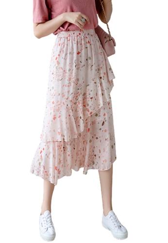 Halo pink Printed Ruffle Chiffon Skirt 6B4ABAAFCDA01FGS_1