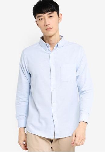 ZALORA BASICS blue Regular Fit Button Down Oxford Shirt 637E7AA55BD971GS_1