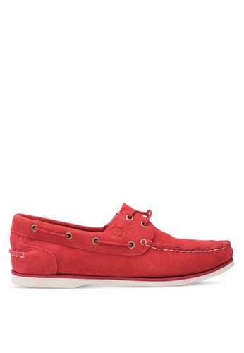 Timberland red Classic 2 Eye Boat Shoes TI063SH0SB9EMY_1