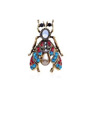 Glamorousky blue Fashion Personality Plated Gold Bee Brooch with Cubic Zirconia EFB5BACA3EAD07GS_1