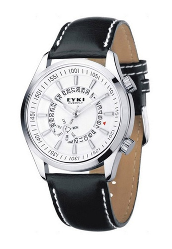 Eyki white and silver Eyki W8453 Overfly Series Day Date Leather Watch (Silver White) EY078AC66RORMY_1