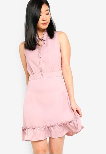 Something Borrowed pink Fluted Hem Sleeveless Dress 3CE47AA1B4995AGS_1