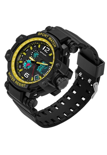 SANDA gold SANDA 729 Waterproof Outdoor Multifunctional Sports Men's Quality Shockproof Digital Watch (Gold) SA708AC0RXBQMY_1