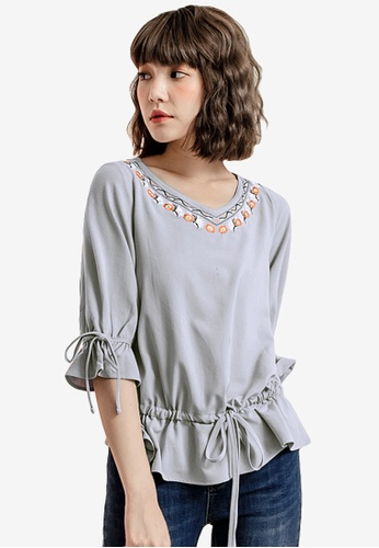 Sesura grey Exquisite Embroidery Sweet Top 2AB51AA9F69128GS_1