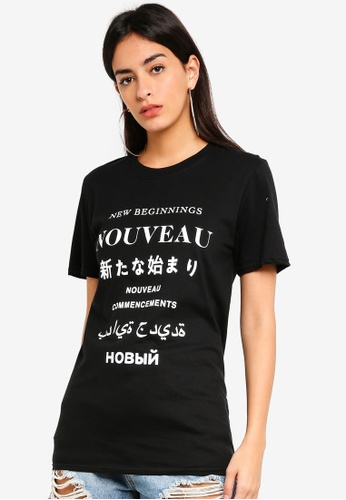 MISSGUIDED black Nouveau Graphic T-shirt 9E74CAA743DCD5GS_1