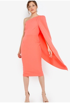 6747ae8f866 Lavish Alice One Shoulder Cape Midi Dress RM 419.00. Sizes 6 8 10 12 14