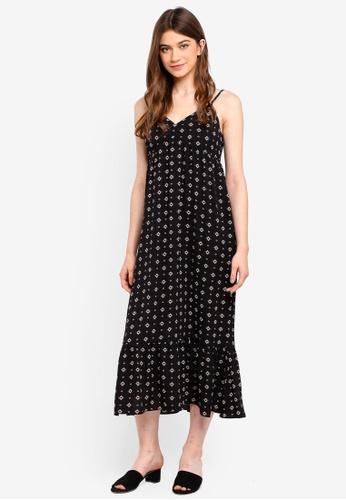 Something Borrowed black Ruffles Hem Midi Dress E708AAAA07BA47GS_1